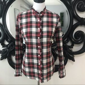 J. Crew red &green plaid ruffle neck button up top